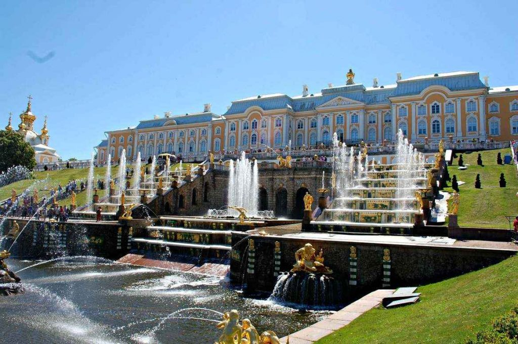 Grand Cascade and Palace at Peterhof Palace