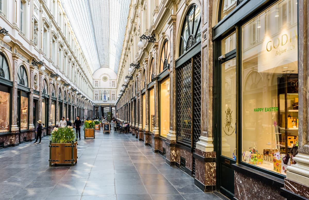 The King`s gallery in the Saint-Hubert Royal Galleries in Brussels
