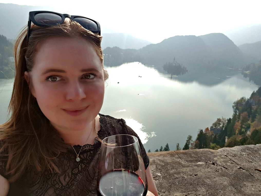 Wine with the view of Lake Bled