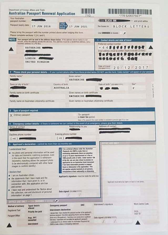 Example of an online Australian Passport Form