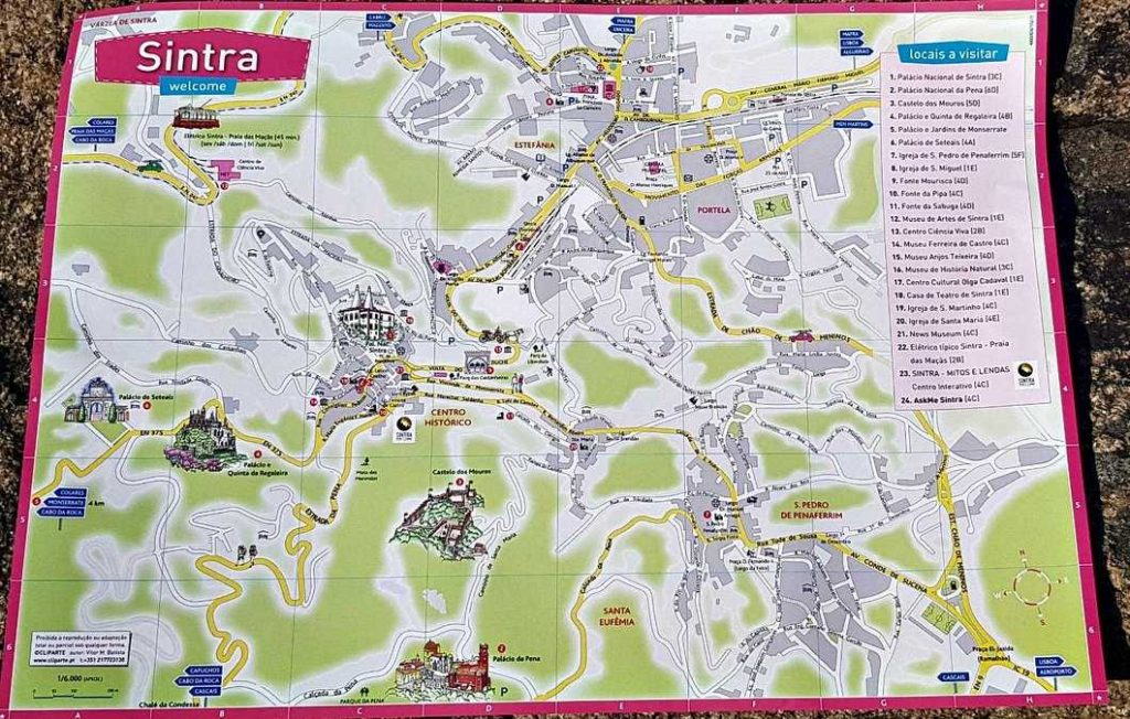 Map of Sintra provided by the tourist office