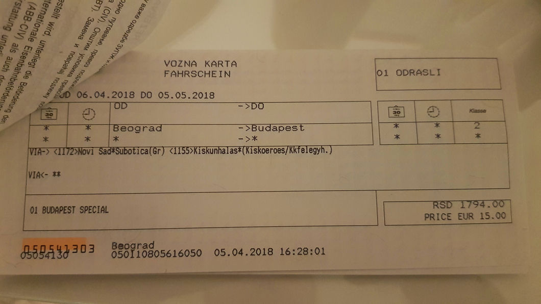 Ticket from Belgrade to Budapest