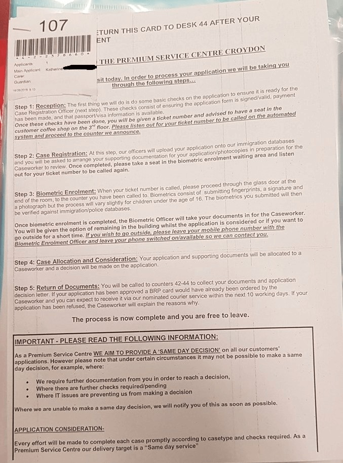 Ticket number and details provided of the UK Visa premium service.