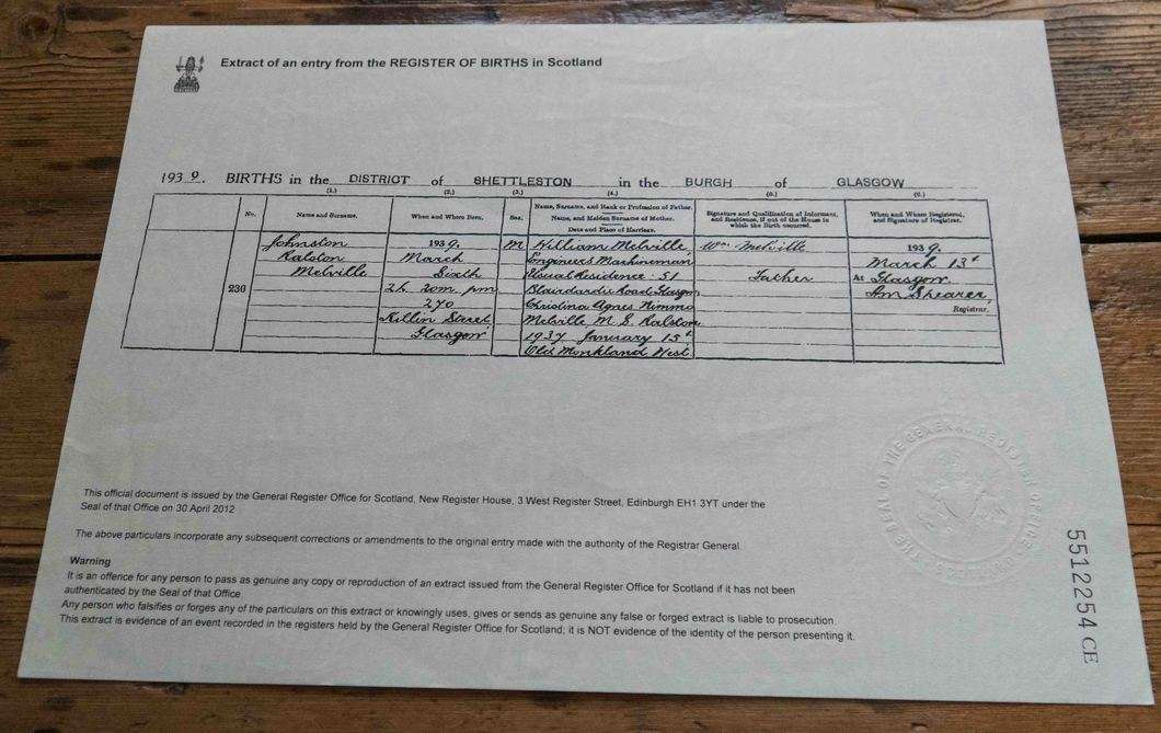 Example of Scottish Birth Certificate for UK Ancestry Application