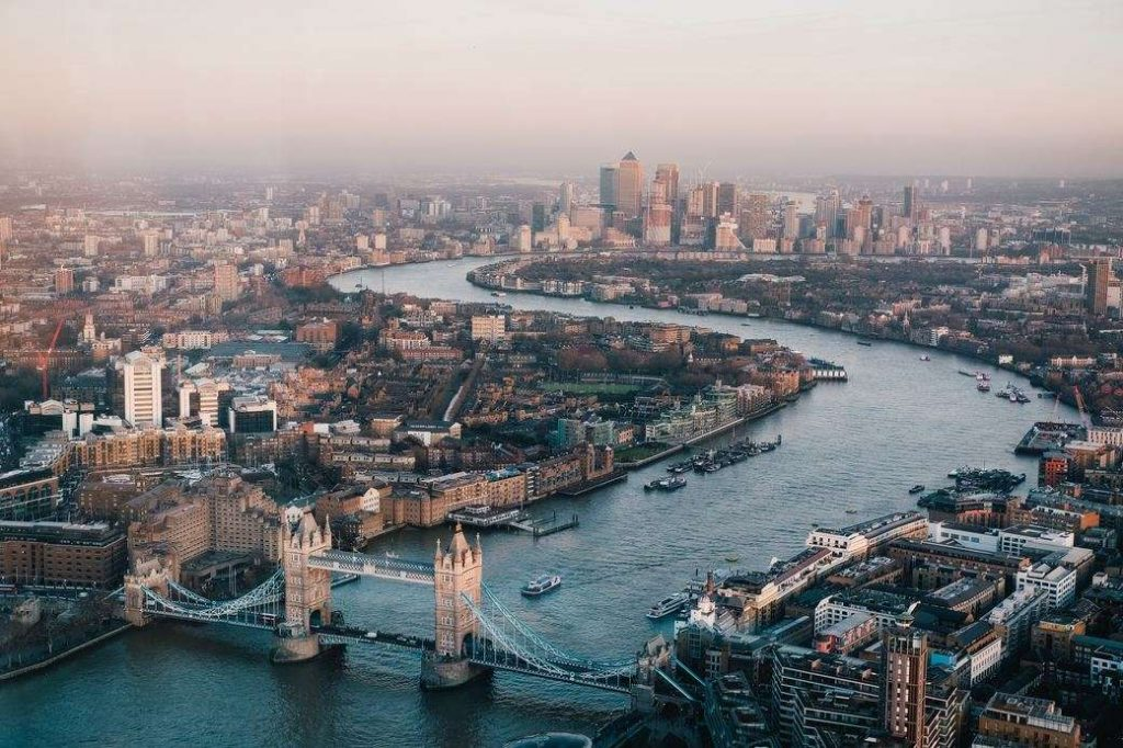 Aerial view of London with iconic like Tower of London.