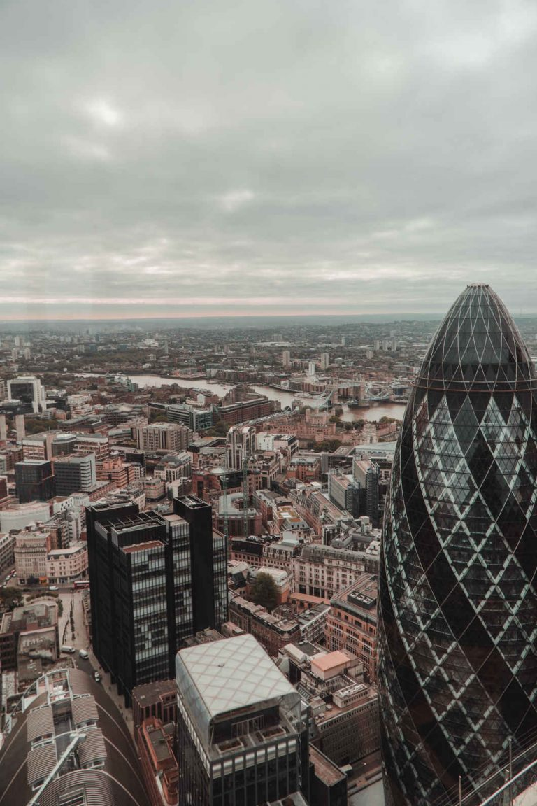 View from Duck and Waffle with a typical grey London day.