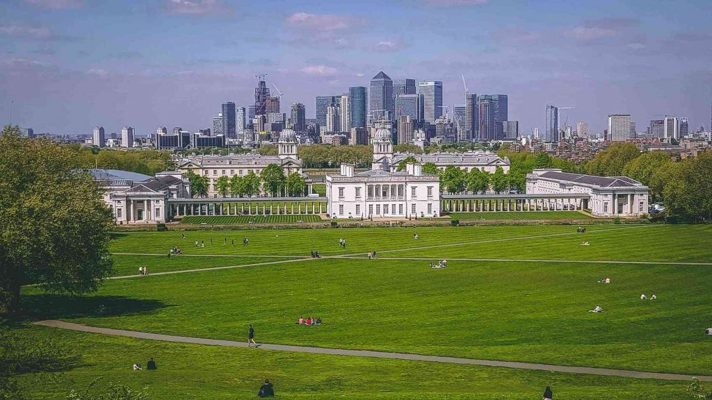 View from Greenwich Park with Canary Wharf in the background.