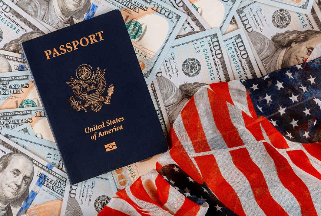 US Passport money and flag