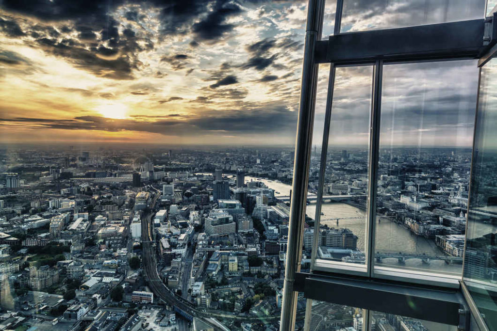 The view from the viewing platform at the Shard.