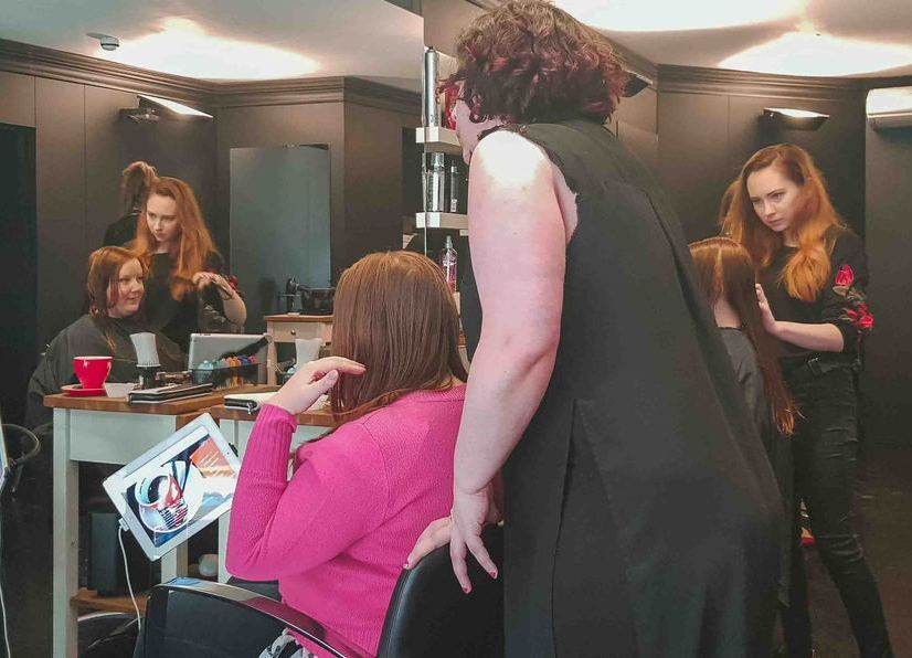 Kat getting her haircut in a London Salon
