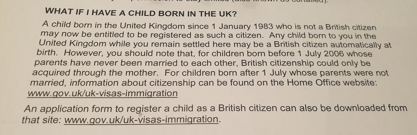 Having a child in the UK with ILR Status