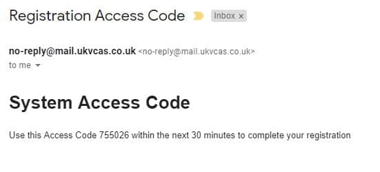 Email from UKVCAS that provides access code