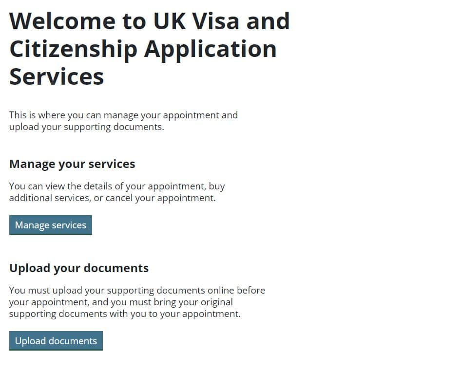 UKVCAS Manage your service screen