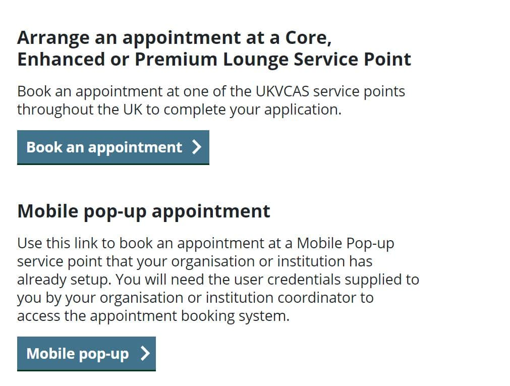 Choose a UKVCAS appointment