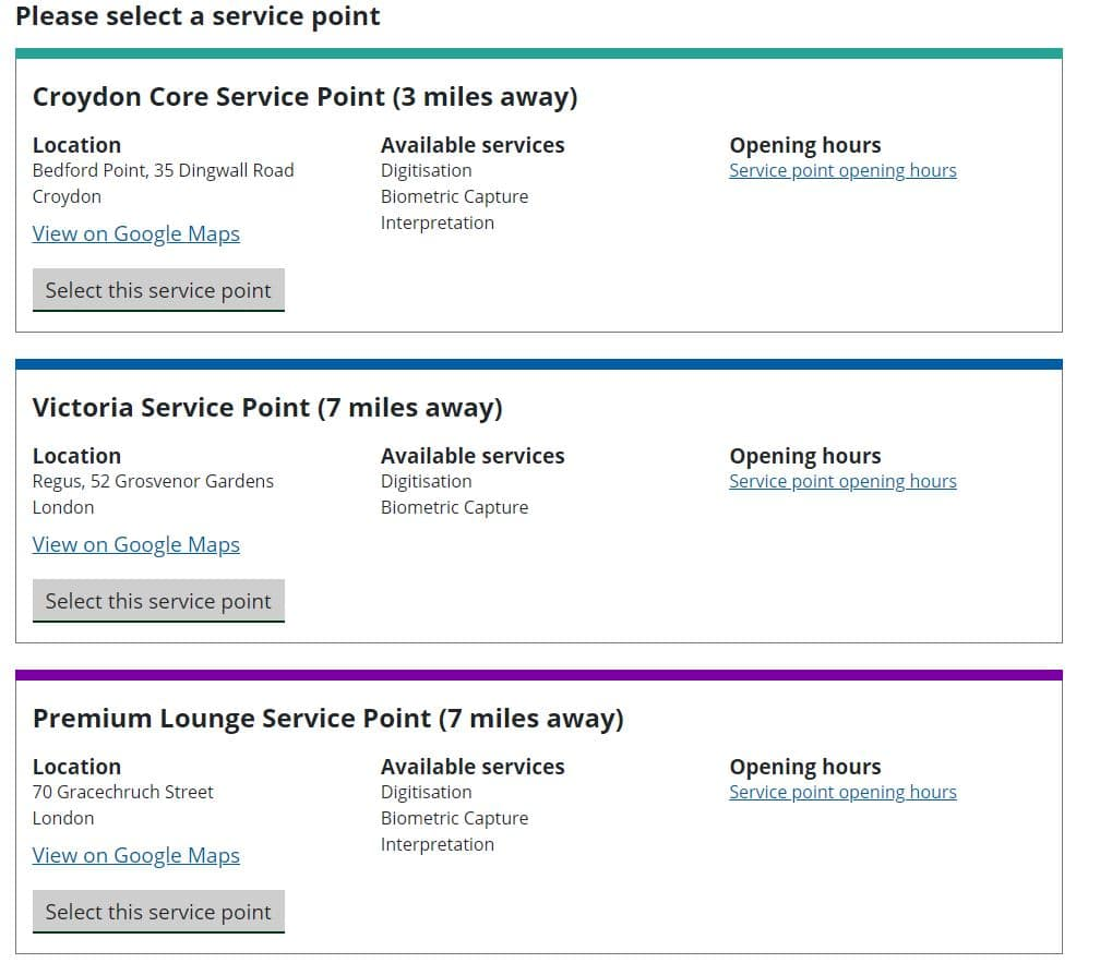 Example of UKVCAS service points