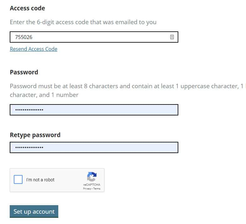 Setup UKVCAS account with password