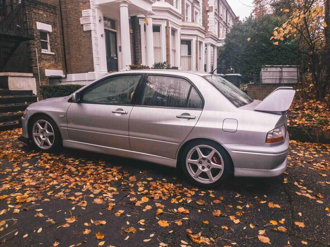 Evo 8 car in a London driveway.