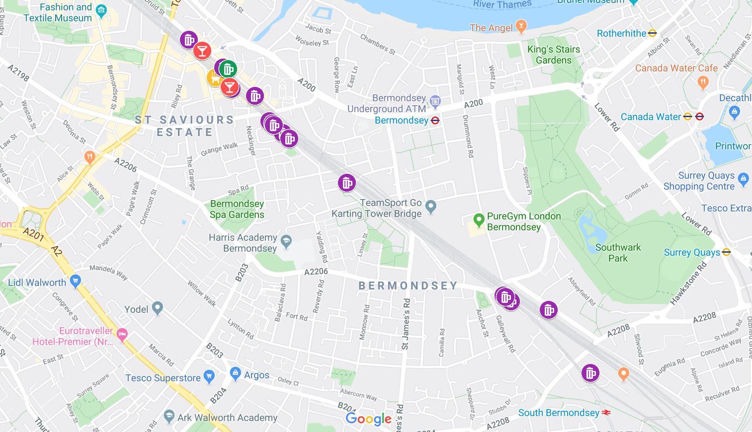 bermondsey beer mile map