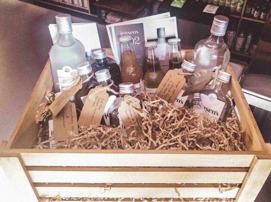 A box of wonderful Jensen's Gin.