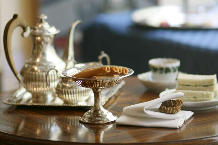 English tea served in the finest silver.
