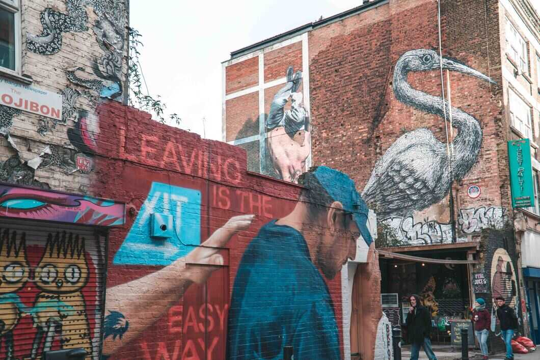 Shoreditch is a hotspot for street art, get lost on the side streets and discover the new artworks.