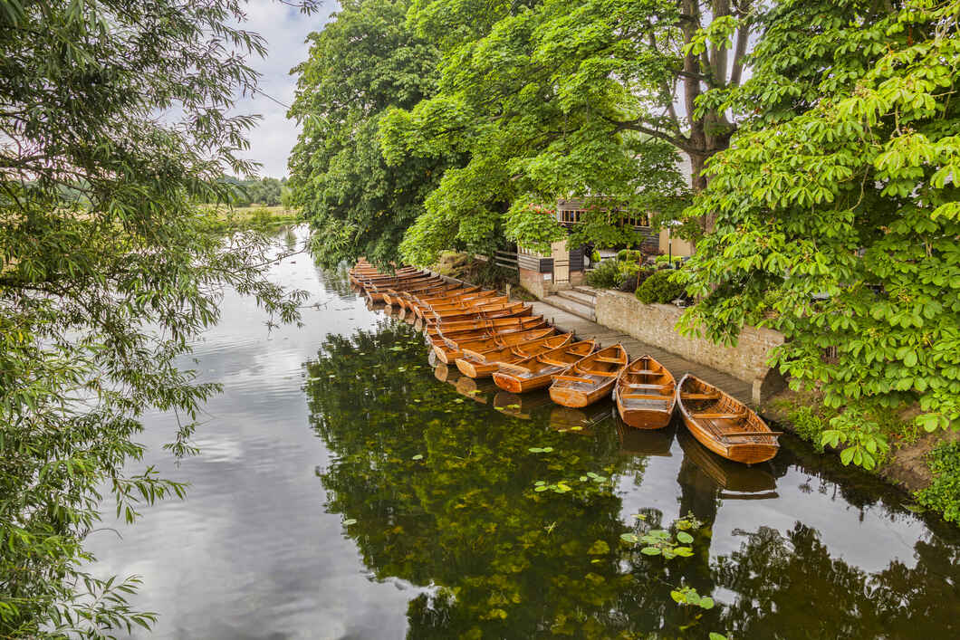 Boats on River Stour Dedham Vale England