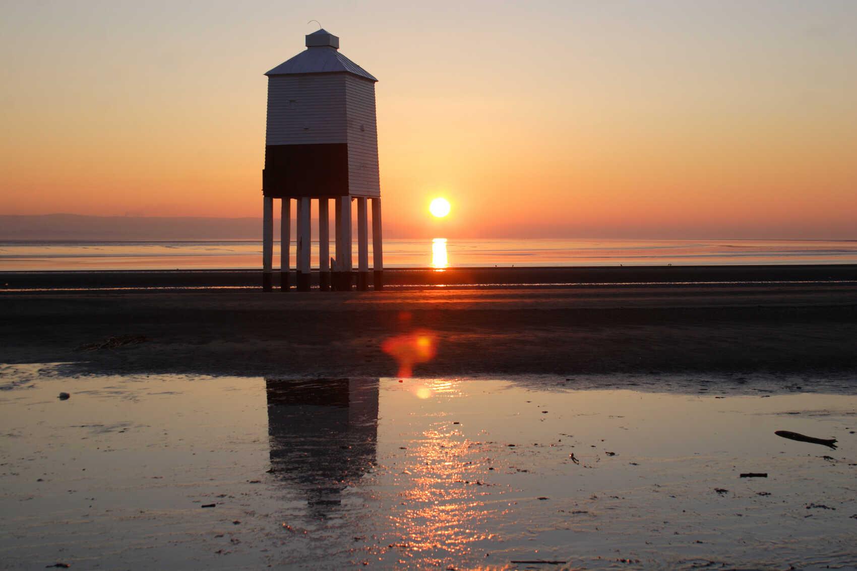 Lighthouse with sunset over Burnham on Sea
