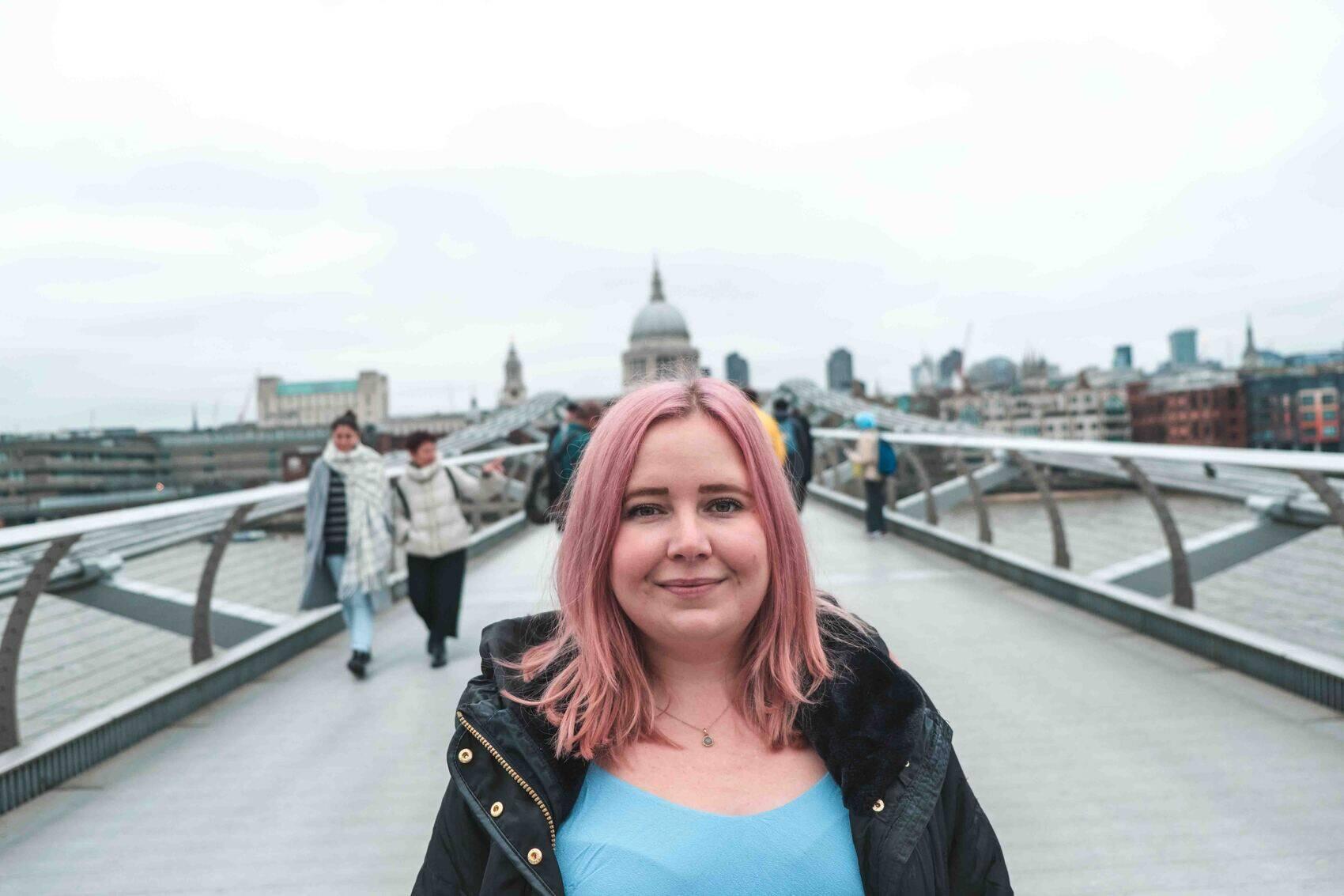 Kat infront of St Pauls London UK