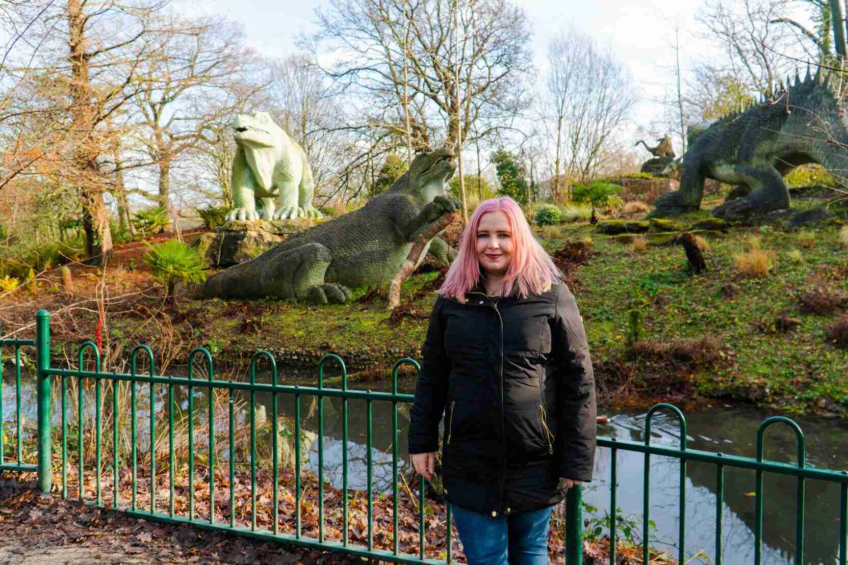 Kat standing in front of Crystal Palace Dinosaurs