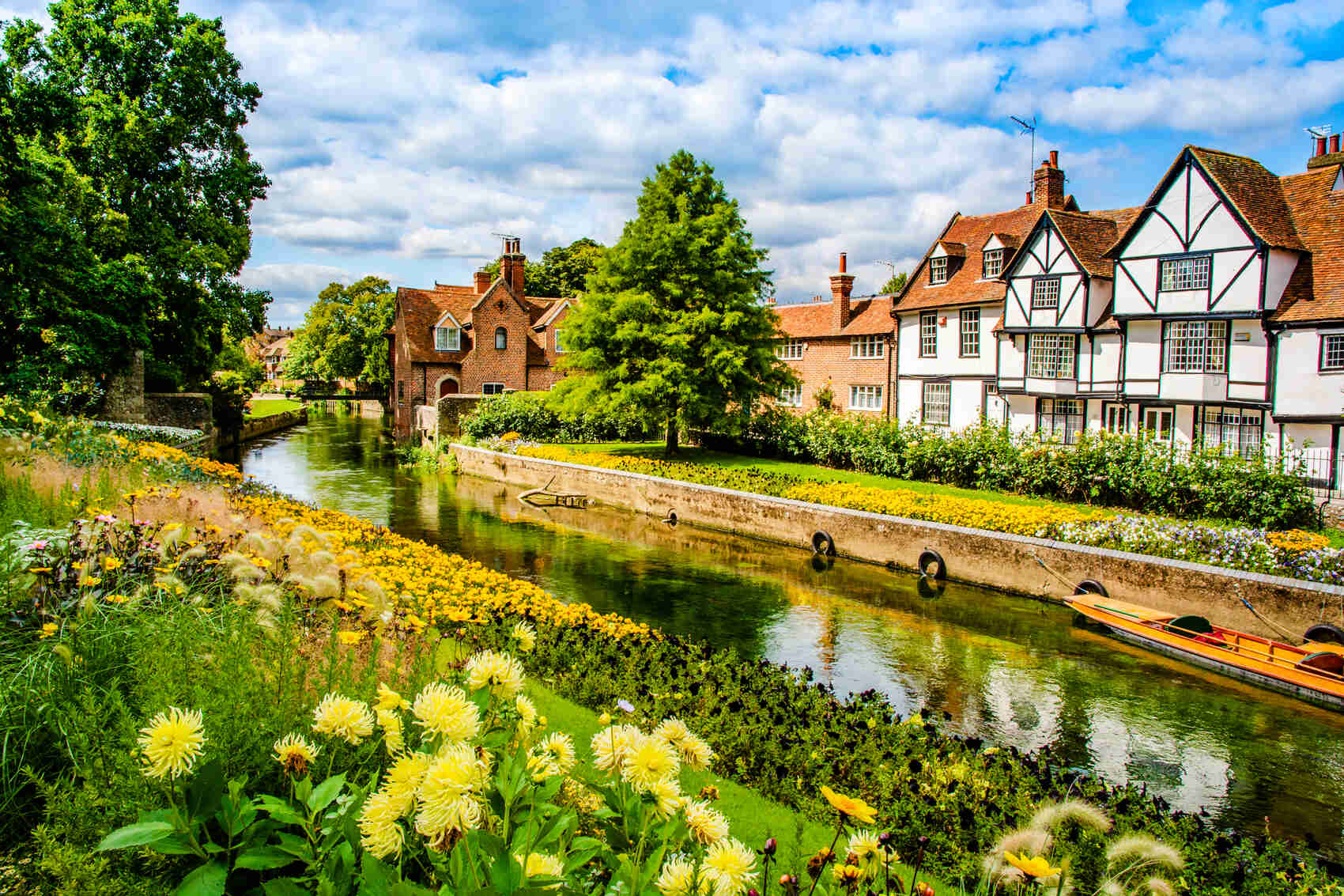 Landscape of the Great Stour river near Westgate Gardens Canterbury Kent UK