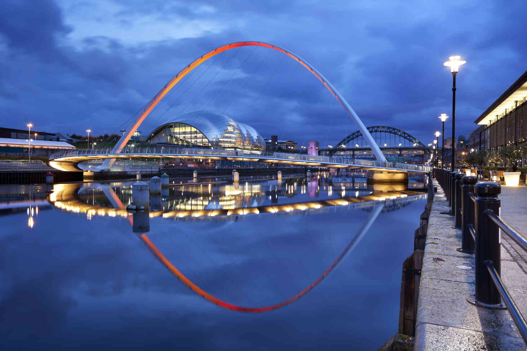 The Gateshead Millennium Bridge over the river Tyne in Newcastle upon Tyne England