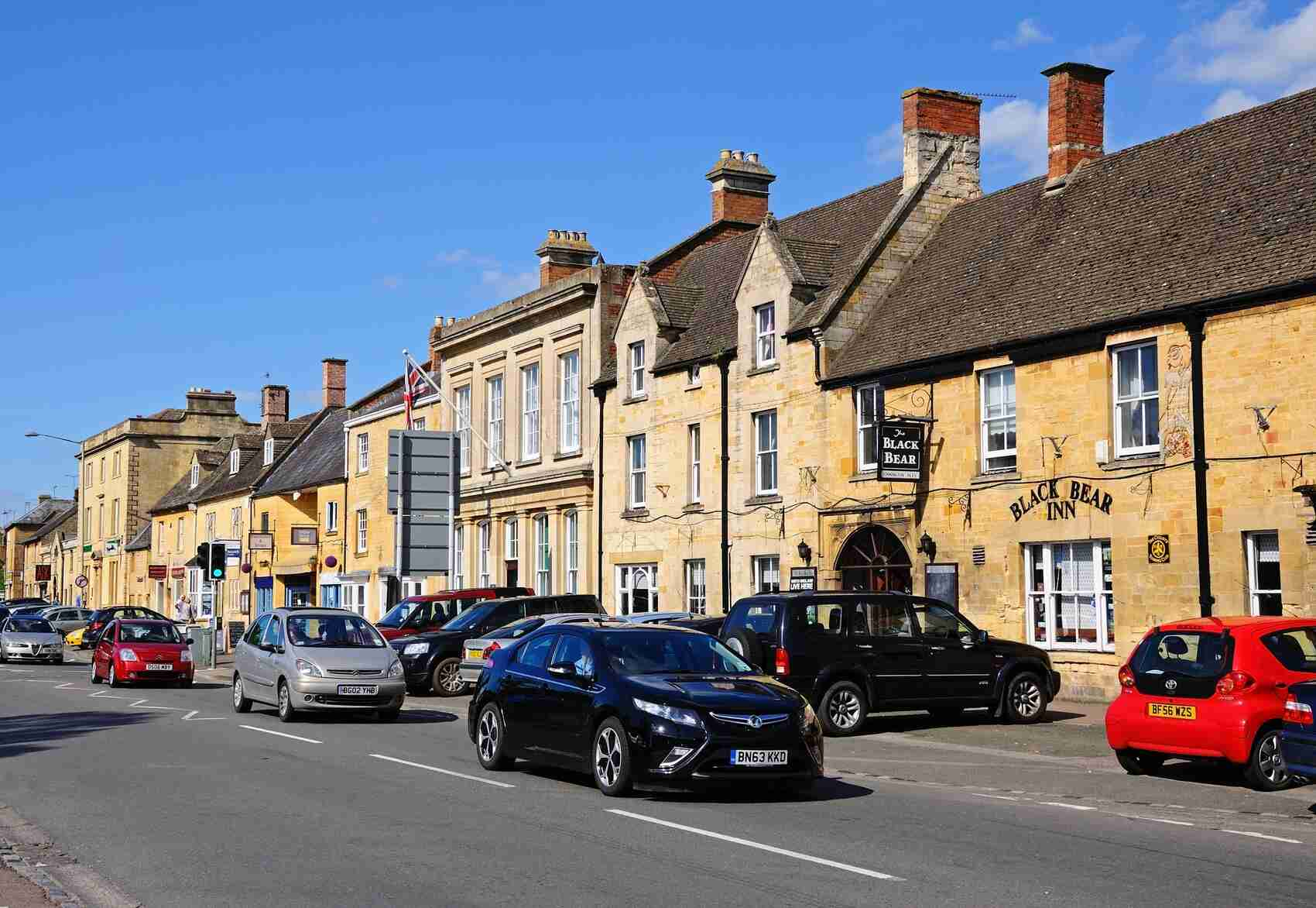 View along the High Street Moreton in Marsh Cotswolds