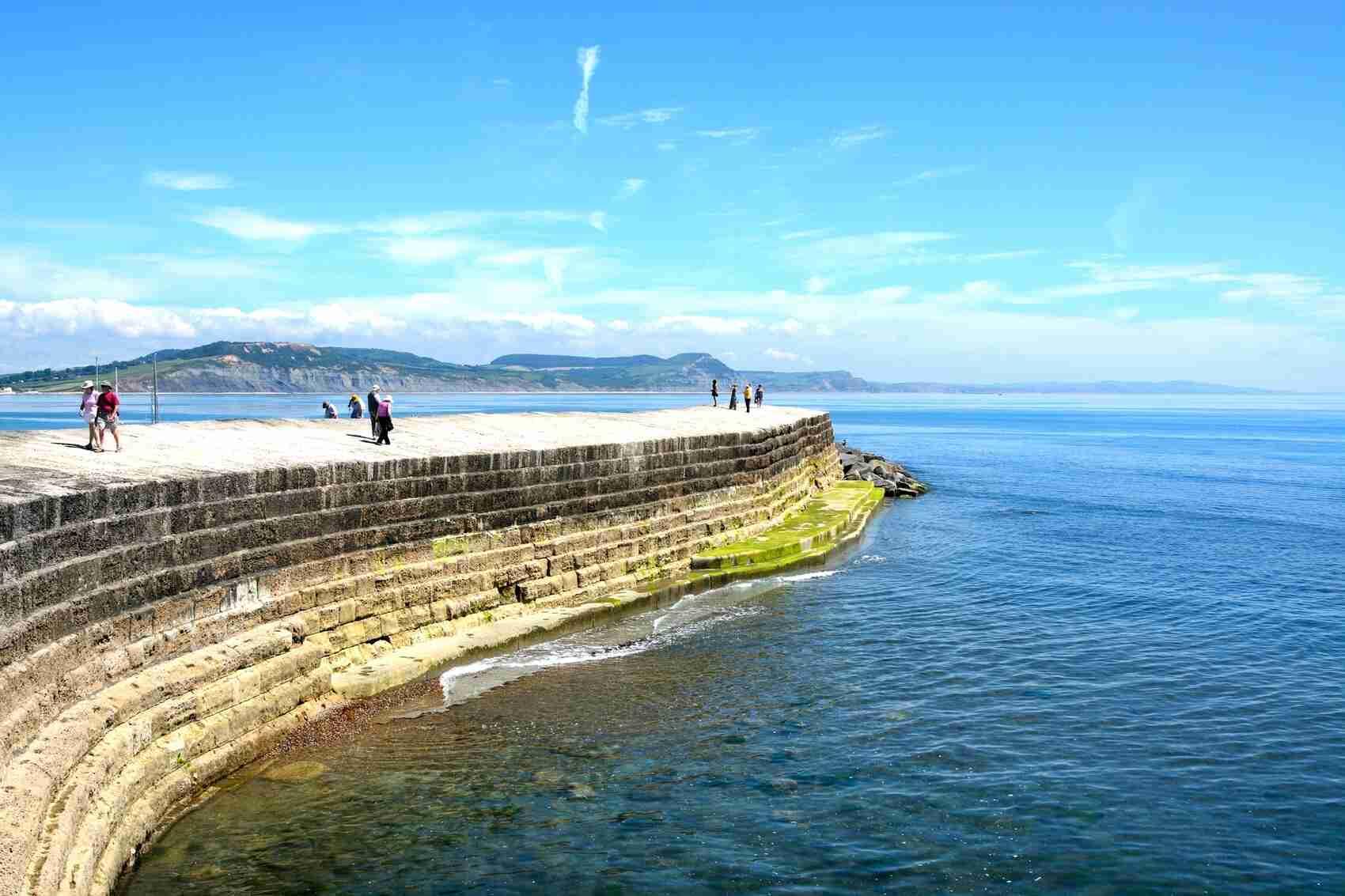 harbour wall  Lyme Regis Dorset England UK