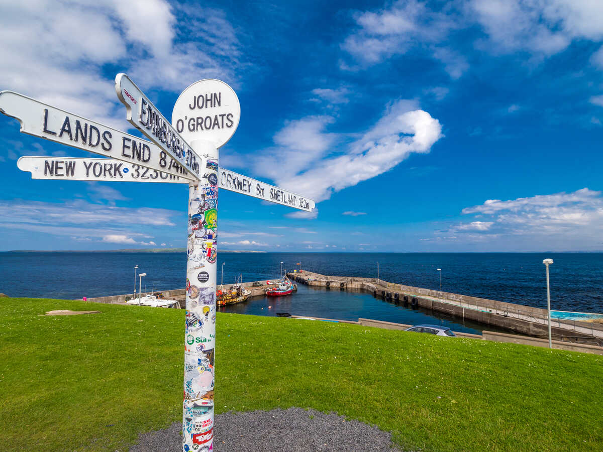Sign post at John O Groats, Scotland