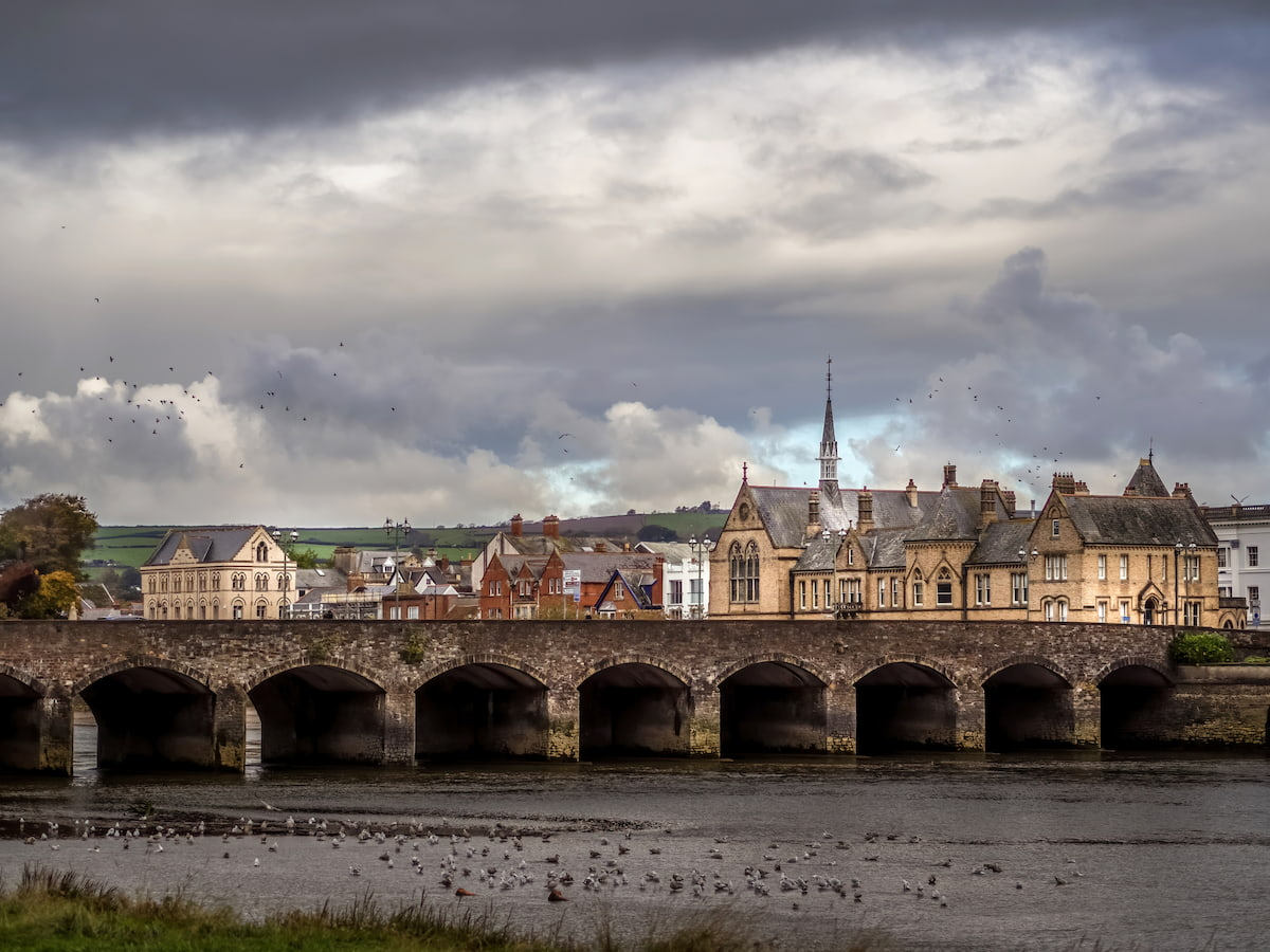 Barnstaple medieval Long Bridge which spans the River Taw in North Devon