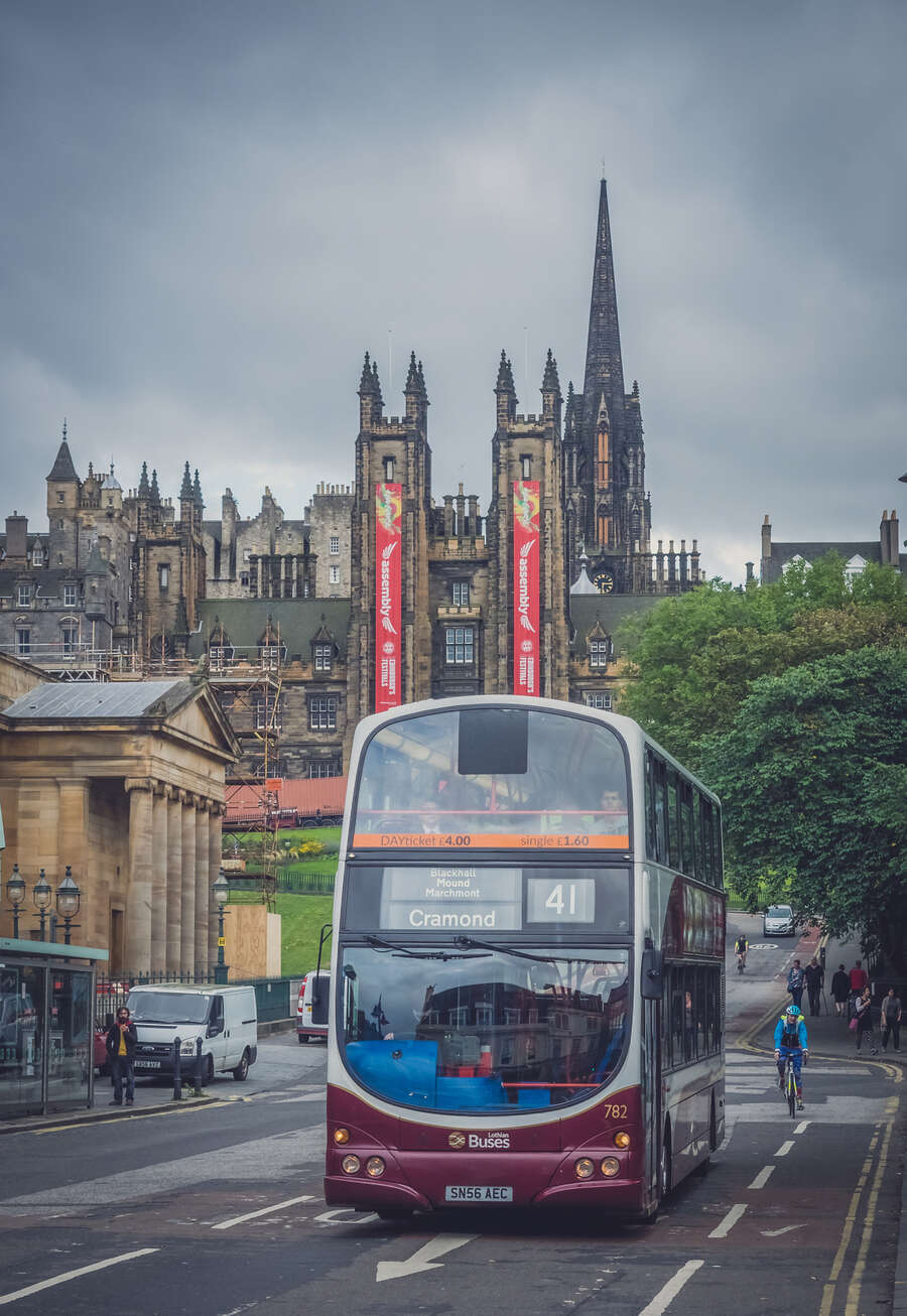Modern double deck bus operated by Lothian busses in the centre of Edinburgh, Scotland