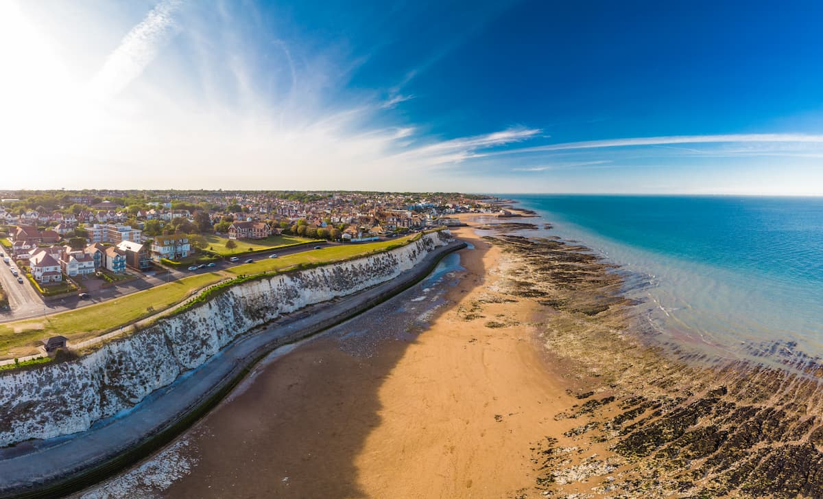 Aerial view of the beach and white cliffs, Margate