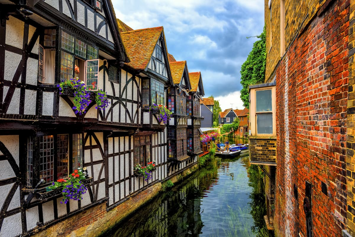 Medieval houses and river Stour in Canterbury Old Town
