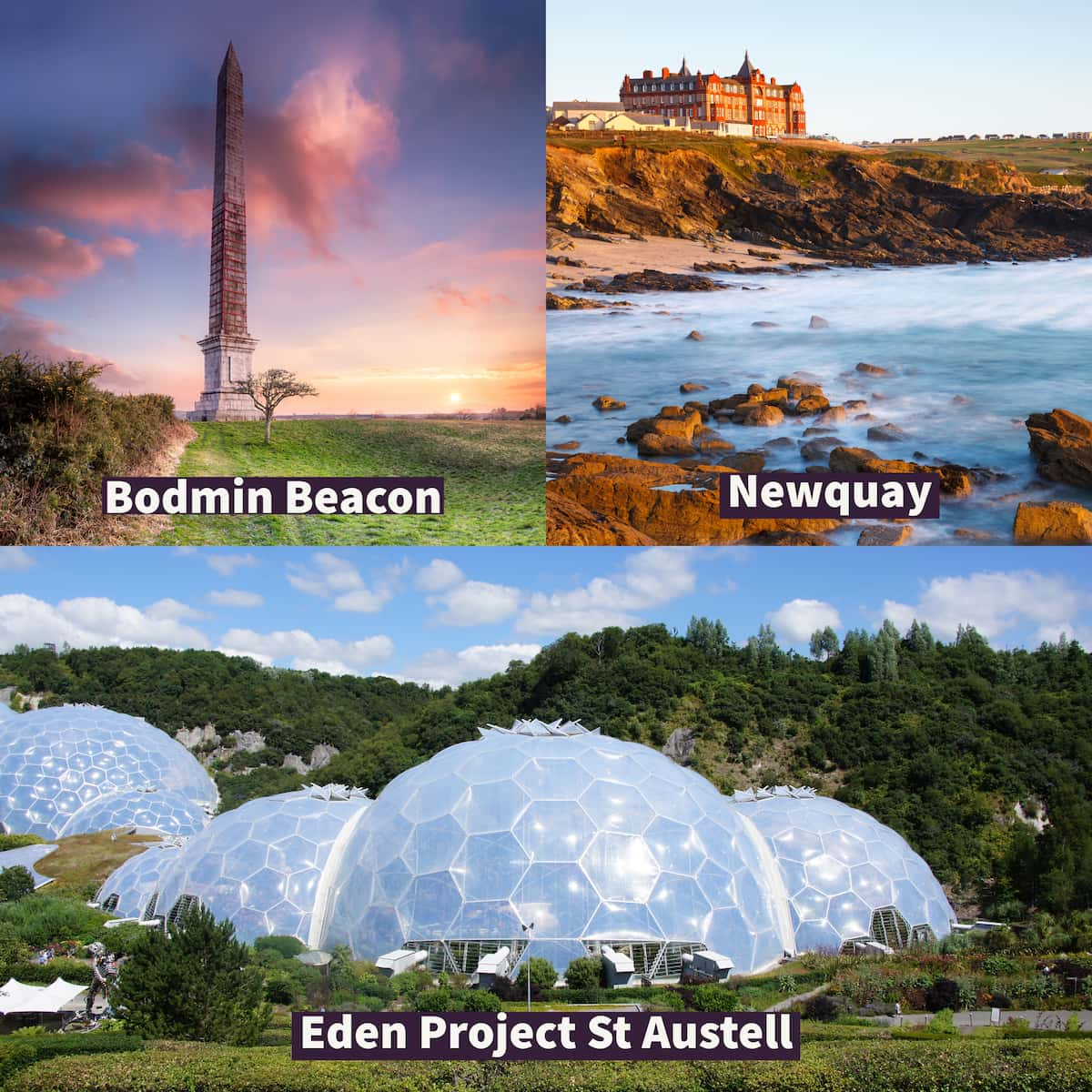 Top left the views at Bodim Beacon, top right view of Newquay from the beach and bottom Eden Project in St Austell.