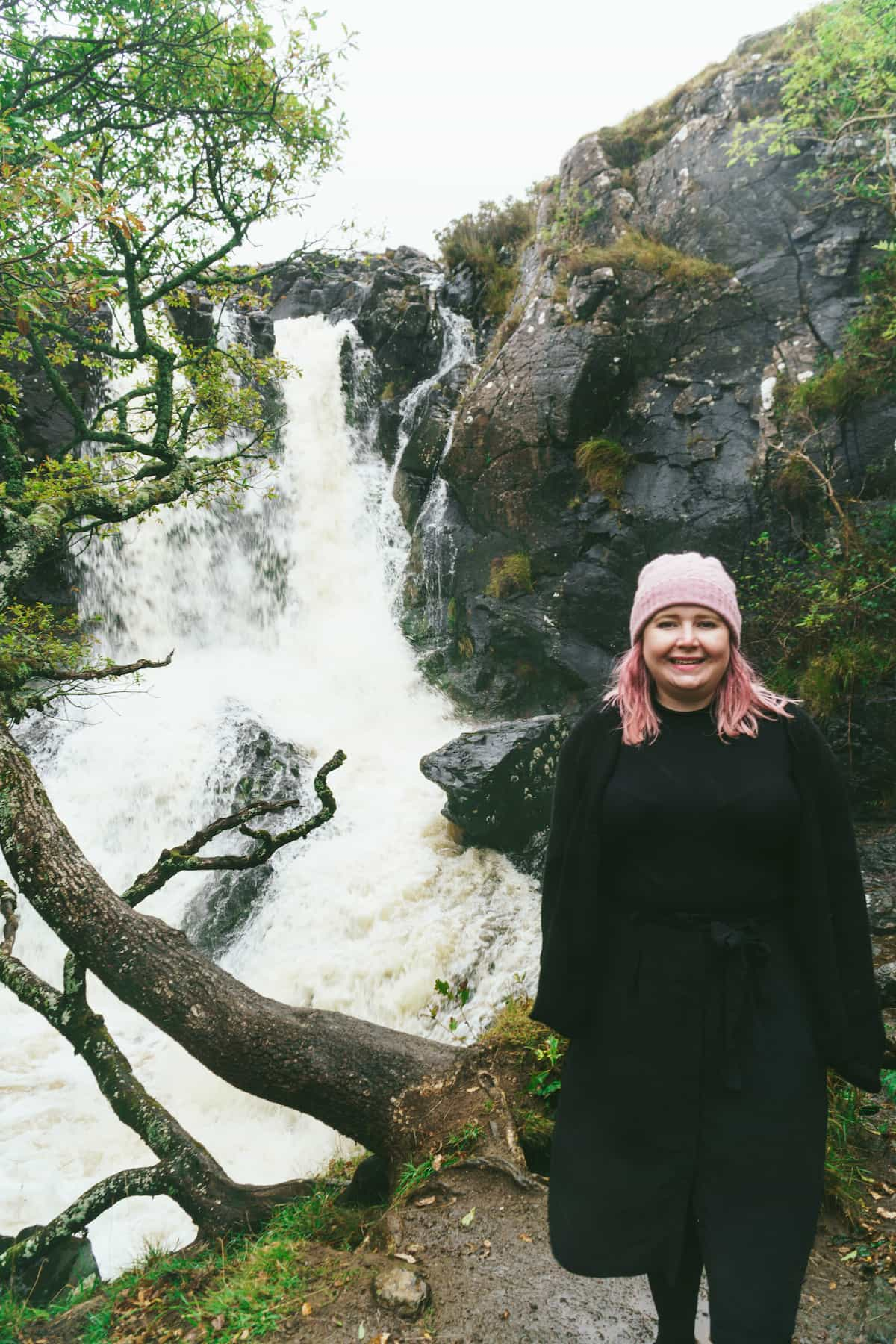 Kat at a waterfall on the Isle of Mull