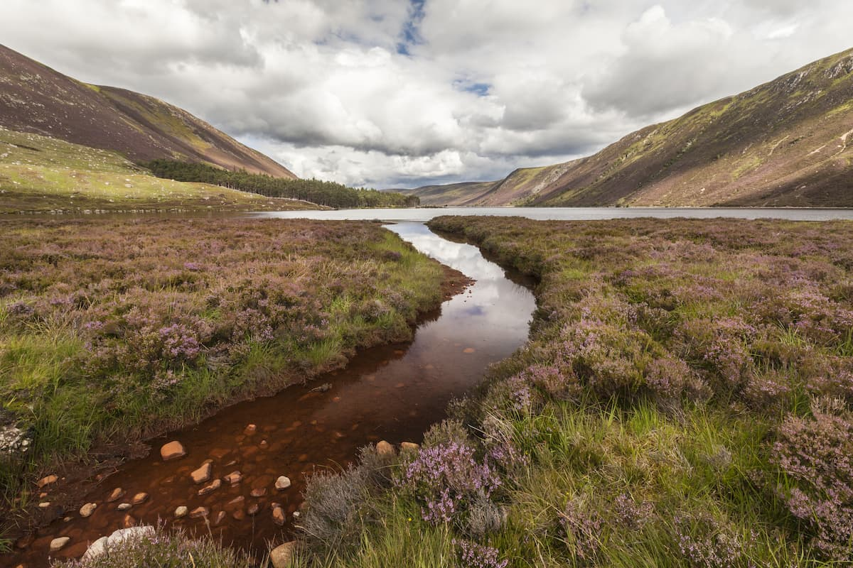 Loch Muick in the Cairngorms National Park of Scotland