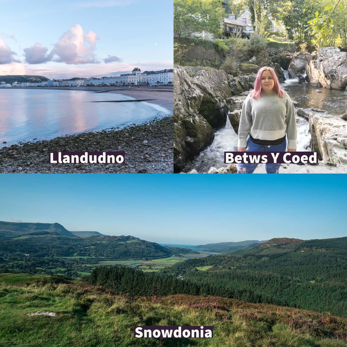 top left, beach view of Llandudno with sea front houses, top right Kat standing at a waterfall in Betws Y Coed and bottom view from a walk in Snowdonia.