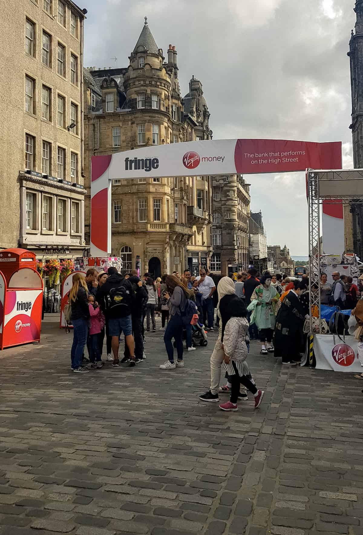 Streets of Edinburgh during fringe festival
