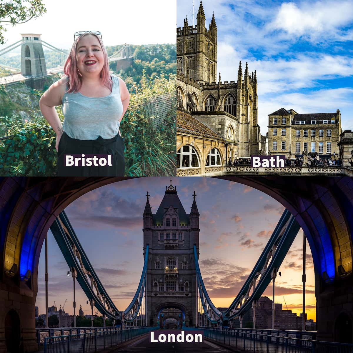 Top left, Kat at Clifton Bridge in Bristol, top right is the beautiful Bath building and bottom Tower Bridge.
