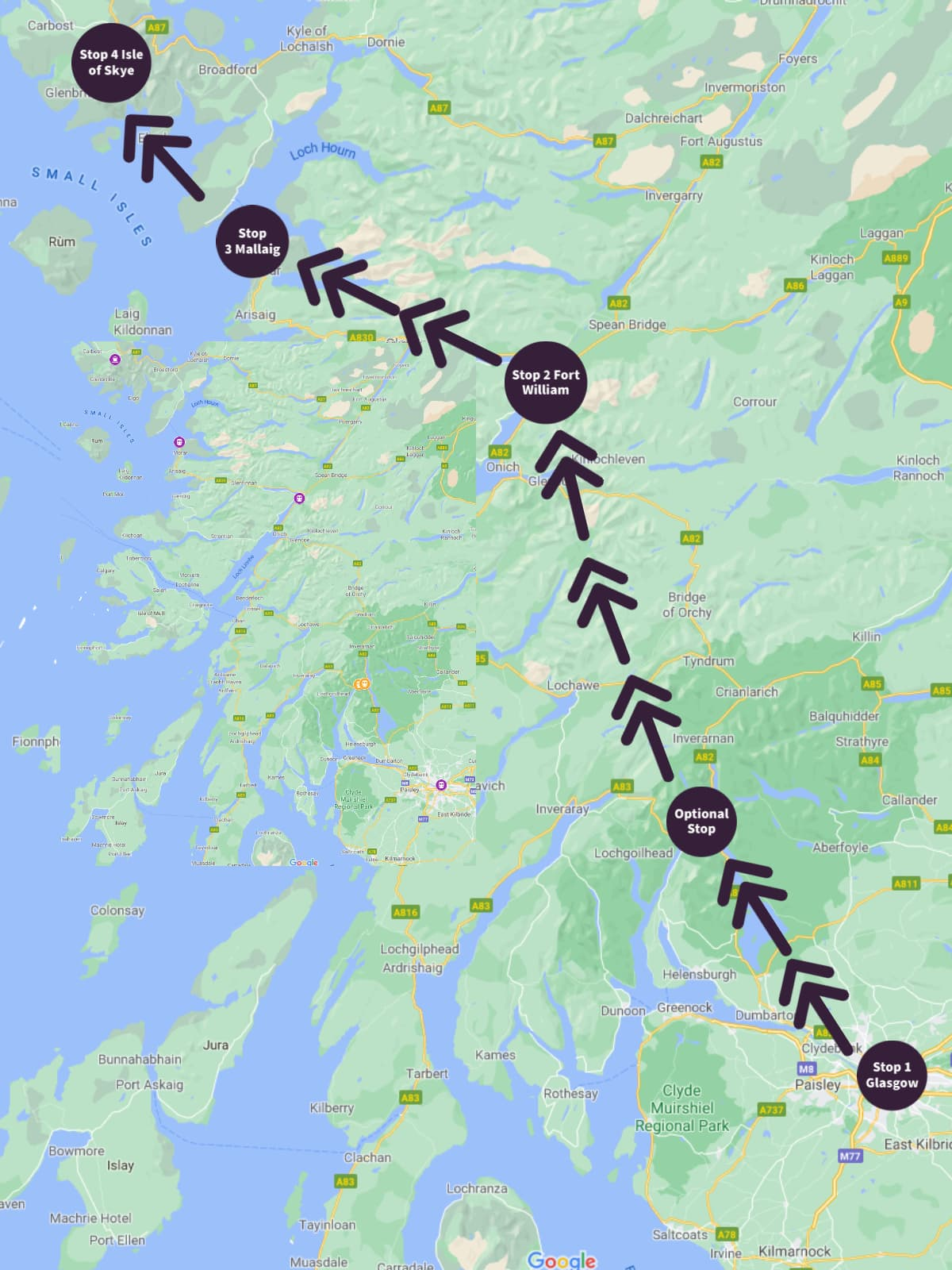 Map of West Highlands train route in Scotland