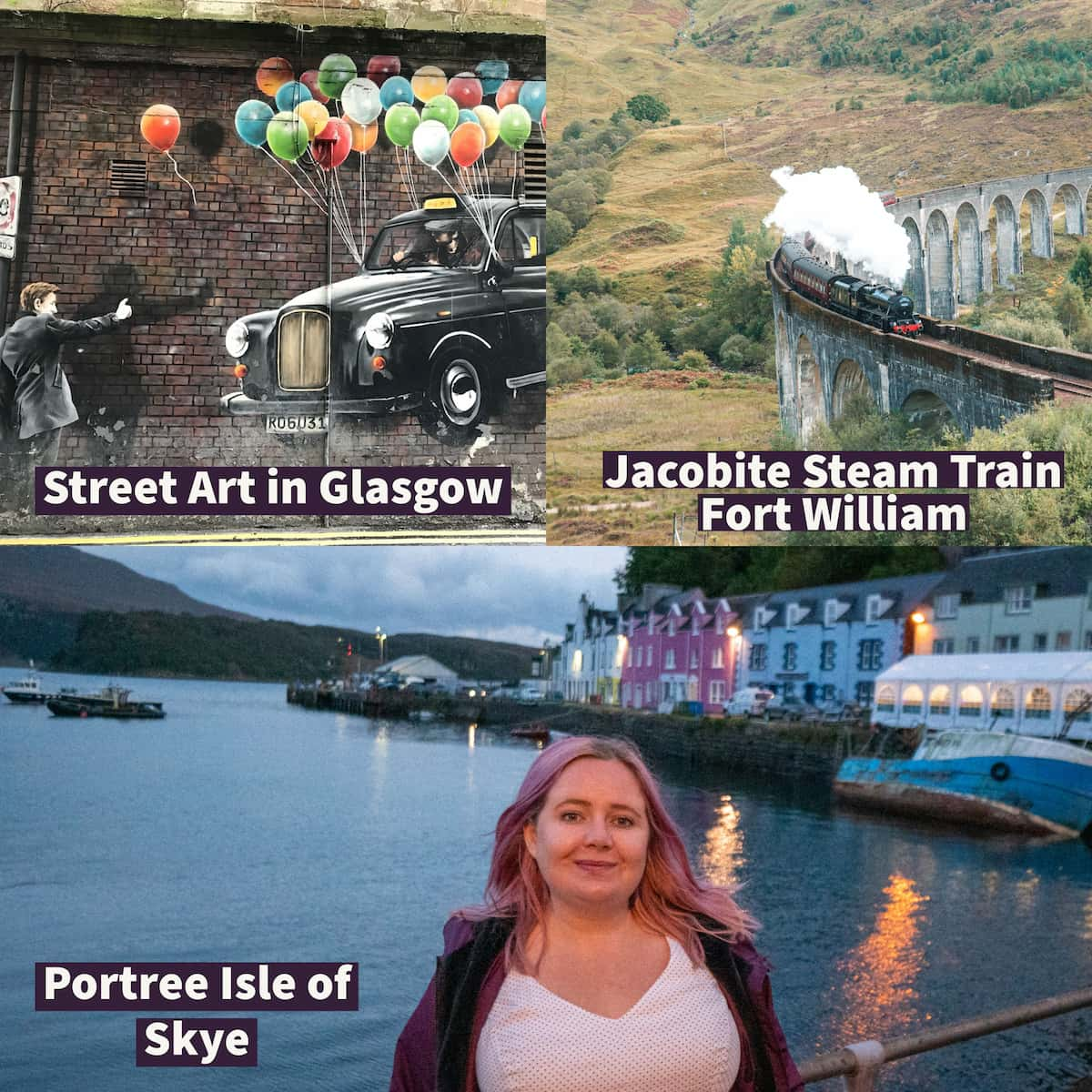 Top left street art in Glasgow, top right Jacobite stream train going over the bridge in Fort William.