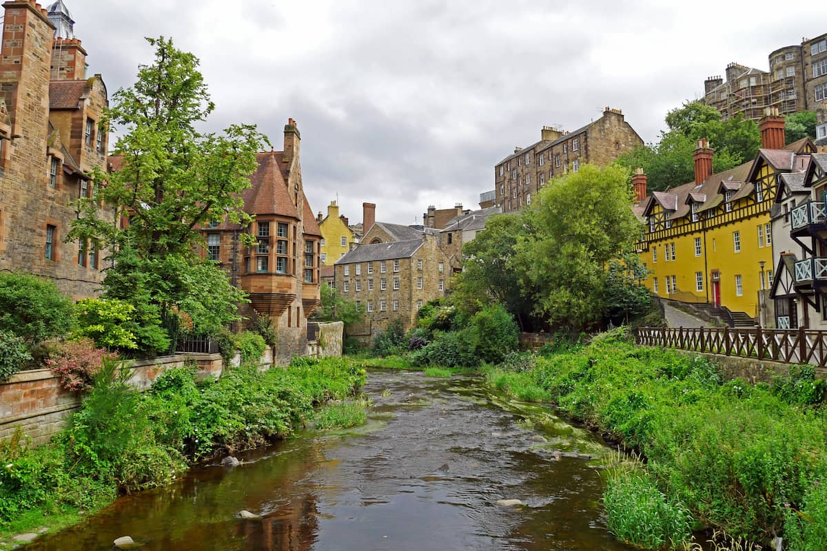 Dean Village along the river Water of Leith in Edinburgh