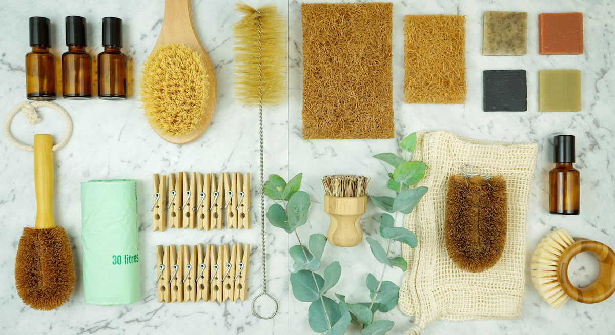 Zero-waste, plastic-free household concept with laundry and cleaning products.