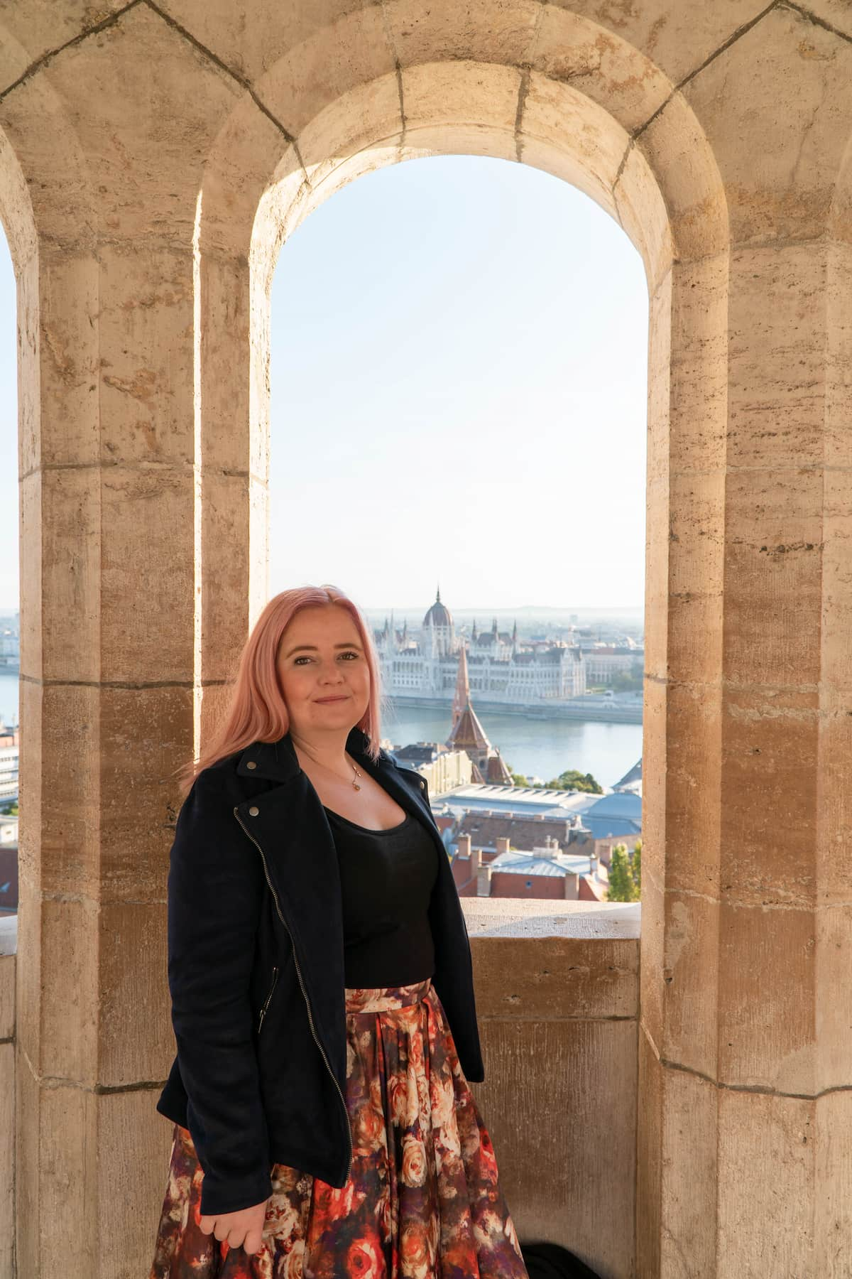 Kat at Fisher Bastion in Budapest