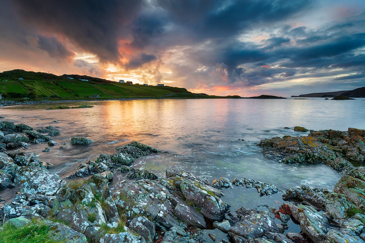 Stunning sunset over the bay at Scourie